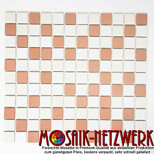 Mosaik weiß beige terracotta Keramikmosaik rutschhemmend Bad Art:18-1202-R10 1qm