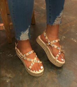 Women's Rhinestone Strap Flats Casual Espadrilles Sandals Platform Comfort Shoes
