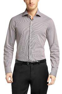 Hugo Boss Men's 'Gerald' Regular Fit Two Color Stripe Dress Shirt 17.5, 35/36