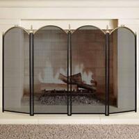 Folding Fireplace Screen 4 Panel Wrought Iron Gold Extendable Mesh Decorative