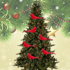 12PCS Cardinal Bird Artificial Clip On Red Feather Christmas Tree Ornament Decor