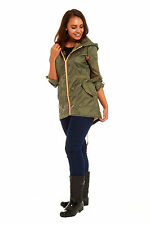 Womens Raincoat Ladies Fishtail Shower Rain Kagool Parka Hooded Jacket Coat Kag
