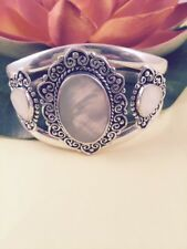 White Mother Of Pearl Sterling Silver Cuff Bracelet - Healing - Protection Calm