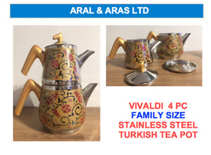 ✅ VIVALDI 4 PC  Stainless Steel *Turkish Tea* Pot -Family- Gold Floral Design ✅