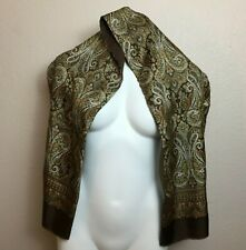 "Scarf Stole Paisley Brown White Wool Silk Women's Fringe 11""x52"""