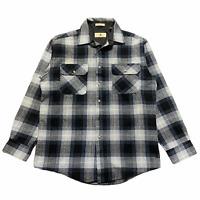 Size M - 90s Northwest Territory Shadow Plaid Flannel Shirt Black Grey Wool VTG