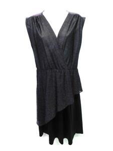 Vintage 70s M Dark Purple Black Sparkle Peplum Disco Dress Sheer Top Sleeveless
