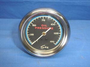 "Vintage SUN Blue Line 2-5/8"" 0-150 PSI Oil Pressure Gauge CT20"