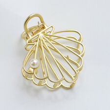 Very Cute Golden Metal Carved Hollow Pearl Shell Hair Claw