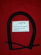 **** 2 CORE 0.22sqmm (24awg) COILED BLACK PUR CABLE 500mm COIL LENGTH ****
