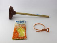 Abflussreinigung Rohrfrei Set Rohrreiniger Saugglocke Pümpel Werkzeug Handschuhe