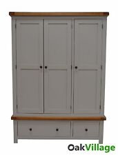 Grey Painted Oak Triple Wardrobe / 3 Door Wardrobe / Bedroom / Brand New Tuscan