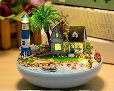 Mini glass DIY Dollhouse miniature with LED light mini lighthouse doll house