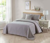 Bibb Home 4-Piece Solid Reversible Quilt Set with Embroidered Cushion
