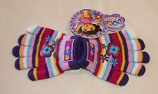 Dora The Explorer Girls Multi Coloured Stripe Acrylic Gloves Size 1 - 3 New