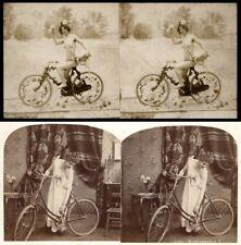 20 Stereofotos, Menschen mit uralten Fahrrädern um 1880, Lot 2, Bicycle Vélo