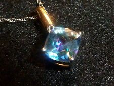 10K SOLID WHITE GOLD PRINCESS-CUT MYSTIC TOPAZ PENDANT AND 10K NECKLACE