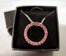 AVON Pink Pave Rhinestones Eternity Pendant Necklace New in Box
