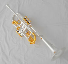 NEW Professional C Keys Trumpet Silver Gold Plated Horn Monel Valves With Case
