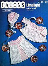 Vintage Baby Crochet Pattern copy Dress, Jacket and Bonnet in 3 Ply