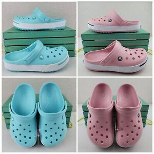 Crocs Crocband II Clogs Ice Blue/ PINK White Unisex Casual Womens