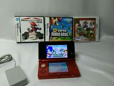 Nintendo 3DS CTR-001 Handheld Video Game Console Bundle Flare Red 3 Mario Games