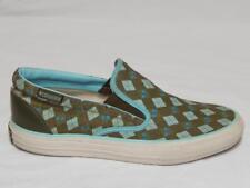 CONVERSE Unisex Brown Blue Canvas Geometric Slip-on Sneakers Size 6.5 (M) 8 (W)