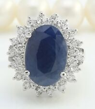 8.80 Carat Natural Blue Sapphire and Diamonds in 14K Solid White Gold Ring