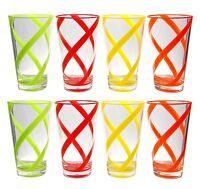 22 oz Helix Multi-Color Acrylic Plastic Tea Cup Drinking Glass Tumbler Set of 8