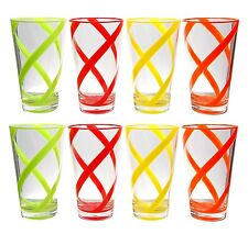 Set of 8 Helix Acrylic Plastic Cup Drinking Glass Tumbler 4 Assorted Color 22 oz