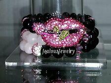 3 Crystal Lips Black Pink Rose Quartz Gemstone Stretch Bracelet Arm Candy Stack