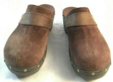 Crocs Womens Size 10 Brown Suede Wedge Pumps Shoes Brass Accents 12314