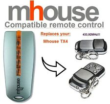 MHouse TX4 compatible remote control transmitter, 433,92MHz 4-ch replacement