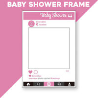 Pink Baby Shower Frame Prop Photo Booth Selfie Fun Rectangle Party Favor Decor