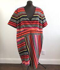 Cato Womens Dress Stretch Sheath Striped Short Sleeve Faux Wrap Plus Size 26W