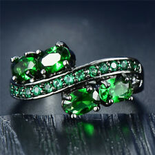 Elegant Oval Green Emerald Wedding Ring 10Kt Black Gold Jewelry Gift Size 6-10