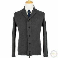 John Smedley Slate Grey Wool Cashmere Thick Shawl Bomber Sweater Jacket M