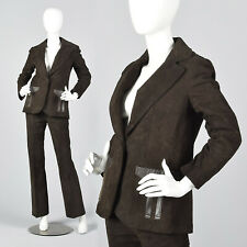 S 1970s Brown Suede Leather Pant Suit Pantsuit Matching Set Separates Boho 70s