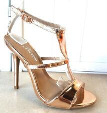 "WOMEN'S 4"" HIGH STRAPPY BUCKLE ROSE GOLD AND PEWTER DRESSY HEEL SHOES"