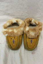 "Rabbit Fur Children's Moccasins 8"" Slippers Girls Boys Leather Beaded Used"