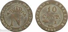 Premier Empire, 10 centimes Napoléon, N couronné, 1808, I = Limoges, billon - 5