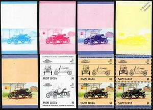 1914 FORD MODEL T Car Stamps (1984 St Lucia Progressive Proofs / Auto 100)
