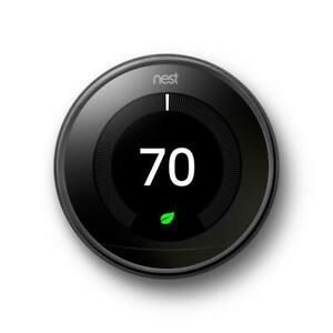 Google Nest Thermostat Learning 3rd Gen Smart Thermostat Mirror Black - T3018US