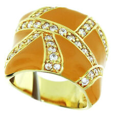 Ladies Epoxy Orange Clear Crystal Pave Plated Ring Size 8