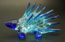 Curio Glass HEDGEHOG Glass Ornament Blue & Turquoise Painted Glass Animal Gift