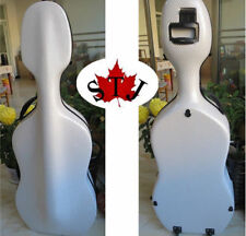 Free Shipping white color hard composite carbon fiber cello case 4/4 with wheels