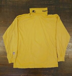 Vintage 90s Pittsburgh Steelers Pro Line Starter Bright Yellow Turtleneck Large