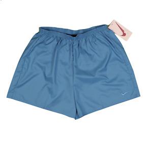 NOS Vtg 90s Nike Womens Large Stitched Swoosh Lined Nylon Running Shorts Blue