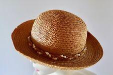Vintage retro 80s straw sun Hat shells excellent