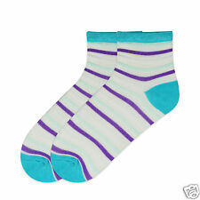 K.Bell Bright Turq White Purple Lurex Sparkle Ladies Crew Socks New